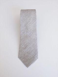 The Grunion Run Groomsmen Shop - Olive-Gray Railroad Stripe Linen Tie ($25)