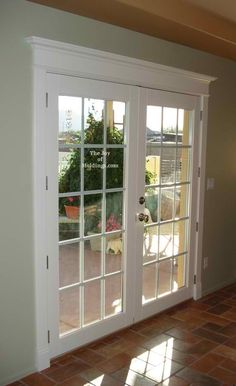Love these Wide Swing Modern Patio Doors in farmhouse patio Farmhouse Patio Doors Ideas Door Trim Baseboard is Almost Nonexistent Farmhouse Patio Doors, French Doors Patio, Sliding Patio Doors, Farmhouse Trim, Farmhouse Style, Front Doors, Barn Doors, Craftsman Patio Doors, Entry Doors
