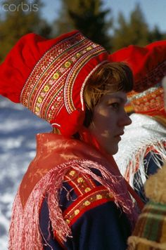 Sami Laplander Women in Traditional Dress. Inhabitants of Lapland, known as Lapps, Laplanders or, more commonly, Sami.