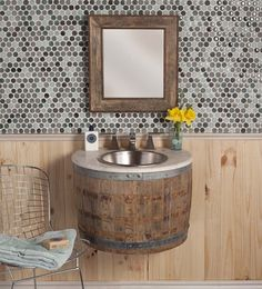"For ""Most innovative bathroom furniture"" Native trails wins with Bordeaux Wall Mount - wine barrel bathroom sink! Wine Barrel Sink, Wine Barrels, Wine Cellar, Diy Tisch, Wine Barrel Furniture, Sweet Home, Wall Mounted Vanity, Home And Deco, Bathroom Furniture"