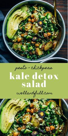 Grünkohl-Detox-Salat # GrünkohlDetoxSalat Kale Detox Salad Simple Detox salad with chickpeas, pesto rice, potatoes and avocado! Detox Recipes, Veggie Recipes, Whole Food Recipes, Vegetarian Recipes, Dinner Recipes, Cooking Recipes, Healthy Recipes, Kale Salad Recipes, Detox Meals