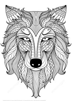 Lobo Zentangle Dibujo para colorear