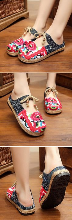 US$18.00 Red Flower Backless Butterfly Knot Knitting Flat Retro Shoes_Casual Flower Sipper_Casual Summer Shoes