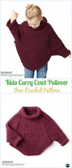 Crochet Bernat Kids Curvy Cowl Pullover Free Pattern - Crochet Kids Sweater Tops Free Patterns