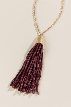 Shelly Wood Bead Tassel Necklace in Burgundy $28.00
