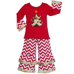 A Christmas tree applique adds holiday cheer to this charming outfit, graced with floral ruffles along the pants and red sleeves. Designed by AnnLoren, this festive tunic and pants set feature a trendy red and white chevron print design.