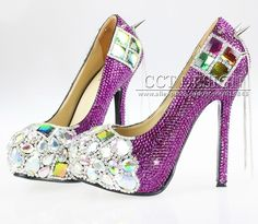 167.20$  Buy now - http://alimrj.worldwells.pw/go.php?t=32378732838 - 2016 New Rives Punk Style Wedding Shoes Women Purple Rhinestones  Unique Crystal High Heels 14/CM Color Customized Free Shipping 167.20$