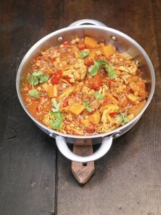 Vegetable jalfrezi - with fresh ginger and coriander, cauliflower, tomatoes, butternut squash, and chickpeas