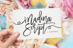Thanks for checking out Madina Script! A fabulously fun yet elegant script font with tons of energy, allowing you to create beautiful hand-made typography in an instant. With extra bouncy