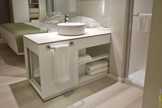 Hotel Bathroom Countertop using #Neolith with a slim profile