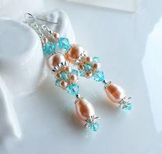 Peach Turquoise Swarovski Pearl Crystal Long Earrings, Peach Blue Cluster Earrings, Peach Wedding Earrings, Light Turquoise Jewelry, Peach by hhjewelrydesigns on Etsy
