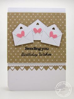 Where's my creativity?—used the SugarCuts Air Mail die set, SugarCuts Heart Journal Card die set, SugarCuts Heart Border die, and the sentiment is from the Happy Mail stamp set. Also used the heart border stamp called Build-A-Background - Basics.