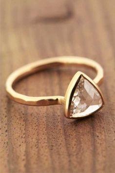 Melissa Joy Manning Triangular Rose Cut Diamond Ring