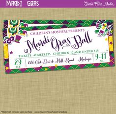 Mardi Gras Ball Ticket Flyer Invitation Postcard Poster Template Church School Community Fundraiser Marketing New Orleans Masquerade Ball by sfmprintables