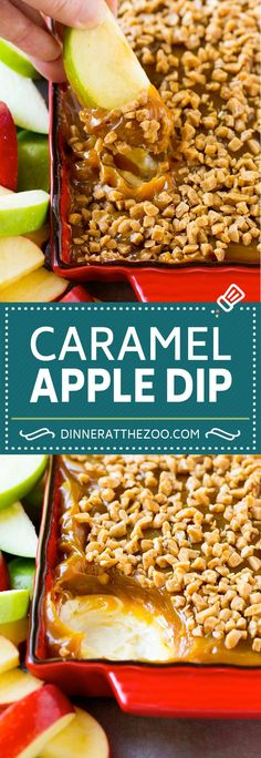 This super delicious caramel apple dip recipe is a quick and easy dessert that only contains 4 ingredients! Dessert Dips, Apple Dessert Recipes, Köstliche Desserts, Dip Recipes, Fall Recipes, Appetizer Recipes, Holiday Recipes, Cooking Recipes, Fall Appetizers