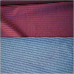 Baumwolle Kleiderstoff Hemdenstoff gestreift 2 Farben: ROT u. BLAU #02044 Red Color, Colors, Stripes, Cotton, Blue