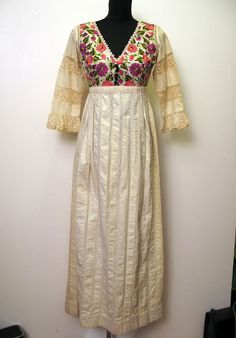 Great Beautiful Vintage us Embroidered Mexican Wedding Dress with Lace by Georgia Charuhas On Etsy