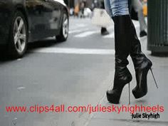 Julie in new york: In this clip, you see me walking around in hole new york city... louboutin in central park and time square.   kneehigh boots from gianmarco lorenzi with 16cm spike heel.  on the empire statebuilding