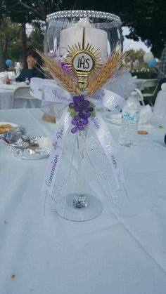 1st communion centerpiece made by me and my sister