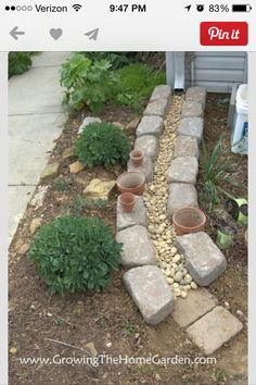 Making A Dry Creek Bed Drainage Canal for Downspouts instead of those plastic trays.}}} Making A Dry Creek Bed Drainage Canal for Downspouts instead of those plastic trays. Garden Yard Ideas, Lawn And Garden, Garden Projects, Home And Garden, Garden Tips, Rain Garden, Backyard Projects, Herb Garden, Backyard Ideas