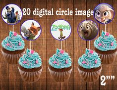 "Partido de Zootopia, zootopia cumpleaños, toppers de cupcake Zootopia Zootopia invitación, toppers cupcake tamaño 2"""