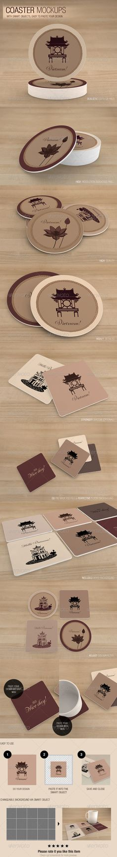 Coaster Mockups  Realistic depth of field High resolution 3000×2000 Pixel High quality Highly detailed Stronger shadow (Optional) 09 Pre made PSD files Perpective floor/ background Included wood background Adjust colour filter Include documentation .pdf Free cup (Optional) Changeable background via smart object