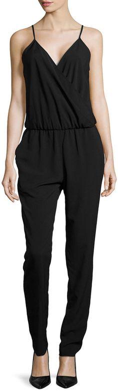 Donna Morgan Wrap Front Jumpsuit, Black