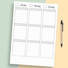 Use this Weekly Agenda template to improve your efficiency easily. A more productive you start here! You can use this template as separate printout or as a part of your binder or digital planner. #weekly #template #sheet #week #timetable Weekly Planner Template, Hourly Planner, Printable Planner Pages, Happy Planner, Printables, Weekly Agenda, Perfect Planner, Pen And Paper, Letter Size