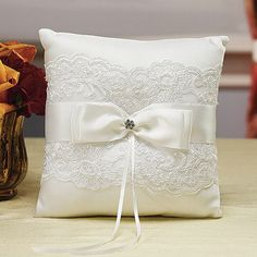 Beverly Clark French Lace Collection Ring Pillow - The Knot Shop