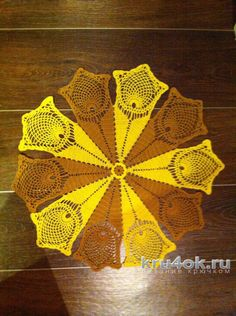 Салфетка Жёлтые Тюльпаны. Работа Татианы вязание и схемы вязания