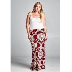 """Maxi skirt with gorgeous pattern. Plus size. 95% polyester 5% spandex. 1X Length: 45.5"""" 3X Length: 46"""" Skirts Maxi"""