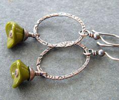 Olive Green Copper Earrings Swirl Stamped Oval by dreambelledesign, $26.00