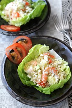 Salad Cups with Quinoa, Shrimp, Avocado & Lemon Dressing Recipe | cookincanuck.com #recipe