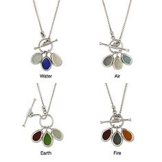 these are cool! they are handmade and they use  shards of sea glass that have been collected by the artist from along the surfs of Bali and California. http://www.uncommongoods.com/product/natural-elements-sea-glass-necklaces