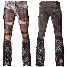 WSCP-279 Dyed Denim Pants - Distressed and Studded Leather Patchwork RTS