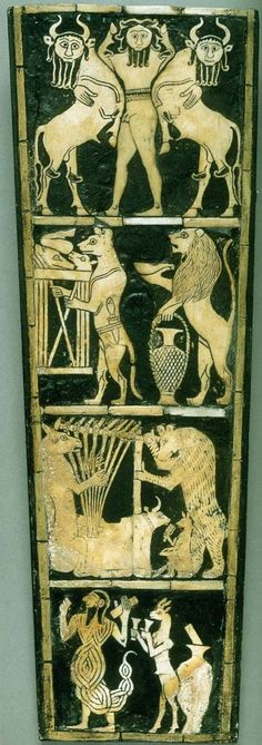 "Inlay panel from the soundbox of a lyre, from Ur.  c. 2600 BCE Shell and bitumen, 12 ¼ X 4 ½ ""."