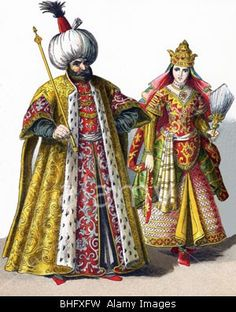 Stock Photo - These figures represent a Sultan and a Sultana in the Ottoman Empire in 1500 Location Costume, Sultan Ottoman, Empire Ottoman, Vintage Magazine, Arabian Nights, Historical Clothing, Historical Costume, North Africa, World War I