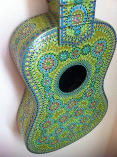 Blue Painted Ukulele by BeesCuriosityShoppe on Etsy, $185.00
