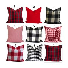 CHRISTMAS PILLOWS, Red Black Tartan Plaid, Farmhouse Pillow Cover.Christmas Throw Pillow Decorative Pillow, Christmas Pillow Cover. Plaid