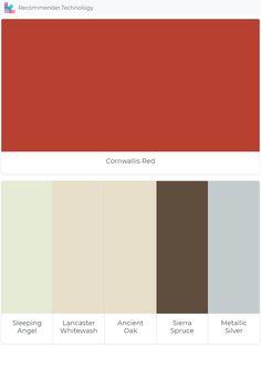 Cornwallis Red: Sleeping Angel, Lancaster Whitewash, Ancient Oak, Sierra Spruce, Metallic Silver