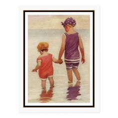 Shop Vintage Children Paddling by Jessie Willcox Smith Postcard created by vintage_illustration. Personalize it with photos & text or purchase as is! Vintage Prints, Vintage Posters, Vintage Art, Vintage Ephemera, American Illustration, Children's Book Illustration, Jessie Willcox Smith, Wade In The Water, Good Housekeeping