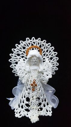 Croched Angel Christmas angel by AngelsandTreasures on Etsy