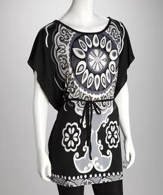 Take a look at this Black & White Mehndi Belted Tunic - Women by Sunset Styles: Women's Apparel on #zulily today!