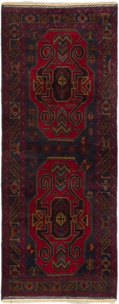 Hand-knotted Teimani Dark Navy, Red Wool Rug