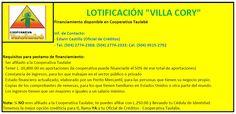 """Ciudad de La Paz, #Honduras. Requisitos de la Cooperativa Taulabe para financiamiento de lotes en Lotificación """"Villa Cory"""".  https://www.facebook.com/LotificacionVillaCory"""