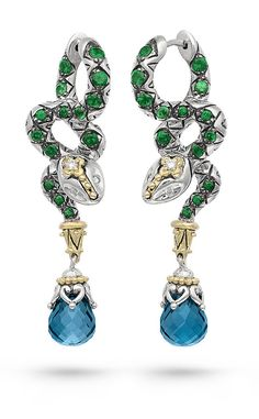 Zen Garden Snake Earrings – Diamond,Tsavorite & London Blue Topaz – Barbara Bixby
