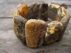 Bracelet | DreamsFactory. Unpolished raw Baltic amber.