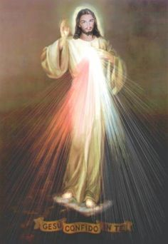 """Jesus, I Trust in You: I am offering people a vessel with which they are to keep coming for graces to the fountain of mercy. That vessel is this image with the signature: """"Jesus, I trust in You."""" -Jesus, Divine Mercy in My Soul (Diary Entry Divine Mercy Image, Divine Mercy Chaplet, Orthodox Prayers, Jesus Loves Us, Holy Quotes, Pope John Paul Ii, Buddha Meditation, Jesus On The Cross, Christianity"""