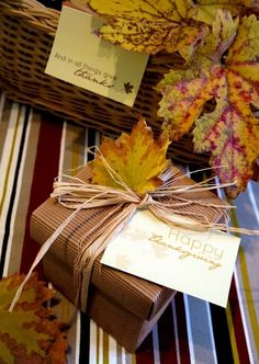 ✂ That's a Wrap ✂ diy ideas for gift packaging and wrapped presents - raffia + autumn leaves