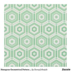 Hexagons Geometrical Pattern Fabric in Green